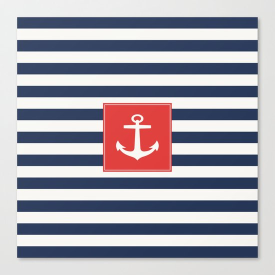 Anchor on blue and white stripes Canvas Print