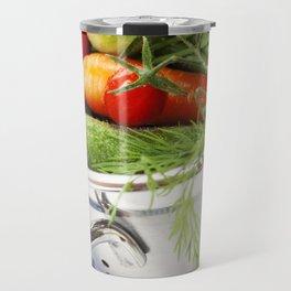 Fresh vegetables in metal colander with blue napkin Travel Mug