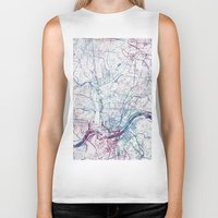cincinnati Biker Tanks featuring Cincinnati map by MapMapMaps.Watercolors