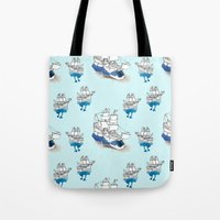 ships Tote Bags featuring Ships Pattern by Brooke Weeber