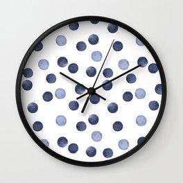 Watercolor . Dark blue polka dot . Wall Clock