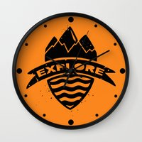 explore Wall Clocks featuring Explore  by Dylan Morang