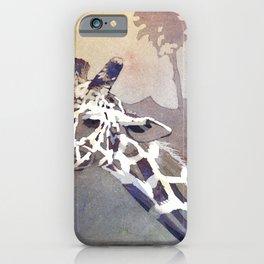 Fine art watercolor painting of giraffe at zoo.  Art painting of giraffe. iPhone Case