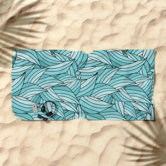 ISLAND PARADISE LEAVES B (abstract flowers nature) Beach Towel