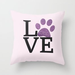 Love is a Four Letter Word - purple paw Throw Pillow