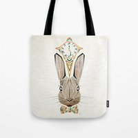 rabbit Tote Bags featuring rabbit by Manoou