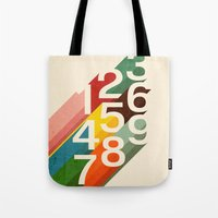 numbers Tote Bags featuring Retro Numbers by Picomodi