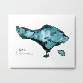 Islands: Watercolor Map of Bali Metal Print