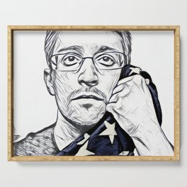 Snowden Artistic Illustration Pencil draw Style Serving Tray