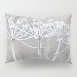 cow parsley plant  with hoarfrost in winter Pillow Sham