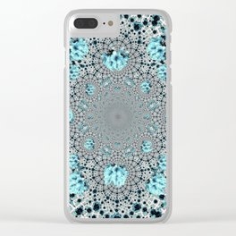 Abstracted Optical Aqua Green Art Pattern Clear iPhone Case