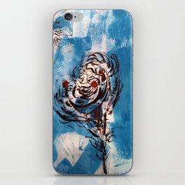 Blue Rose Mono Print iPhone Skin