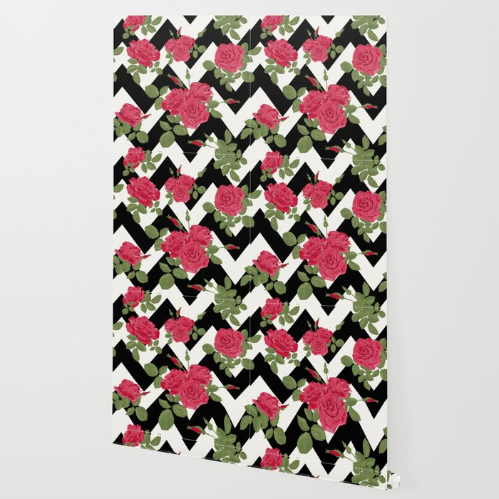 Red Roses On A Black Zigzag Wallpaper