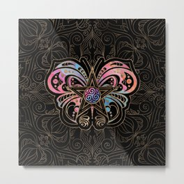Pentagram Ornament Butterfly and Triskele Metal Print