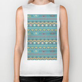 Geometrical abstract vintage green yellow aztec tribal Biker Tank
