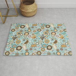 Scandinavian Floral - Gold Brown Turquoise Rug