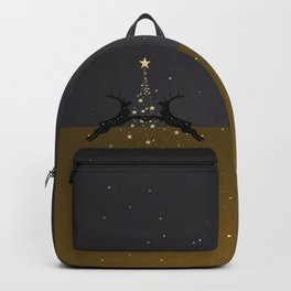 Champagne Gold Star Christmas Tree with Magical Reindeers - Cozy Brown Backpack