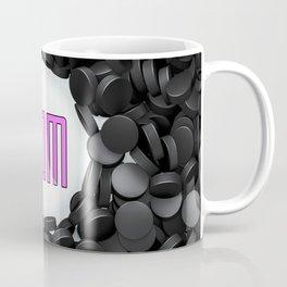 Hockey Mom / 3D render of hundreds of hockey pucks framing Mom text Coffee Mug