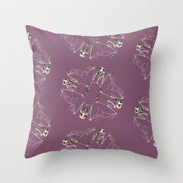 Bat Skeleton Mandala Throw Pillow