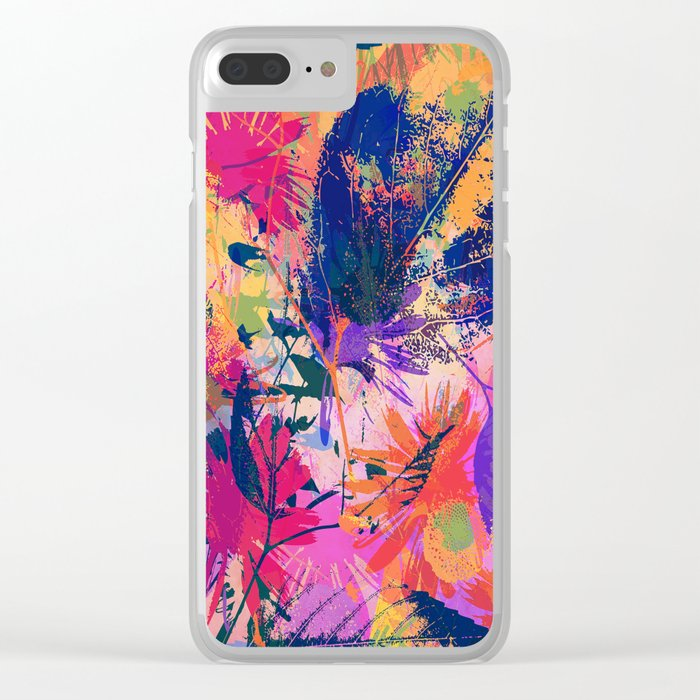 Colorful abstract leaves 2 Clear iPhone Case
