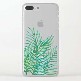 Palm Leaves_Bg Rose Quartz Clear iPhone Case