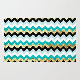 Black, Teal, and Gold Chevron Pattern Rug