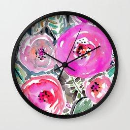 GARDENS OF BERKELEY Pink Watercolor Floral Wall Clock