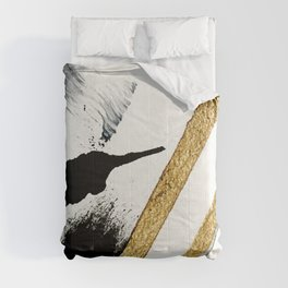 Armor [8]: a minimal abstract piece in black white and gold by Alyssa Hamilton Art Comforters