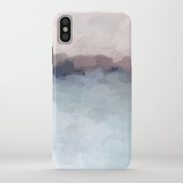 Blush Pink, Mauve Purple, Navy Light Blue, Abstract Painting, Modern Wall Art, Ocean Waves Horizon iPhone Case
