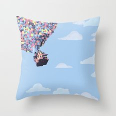 disney pixar up.. balloons and sky with house Throw Pillow