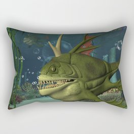 Awesome fish in the deep ocean Rectangular Pillow