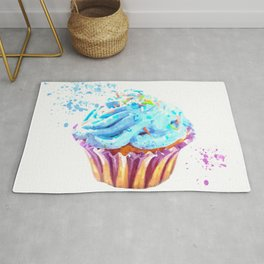 Cupcake watercolor illustration Rug