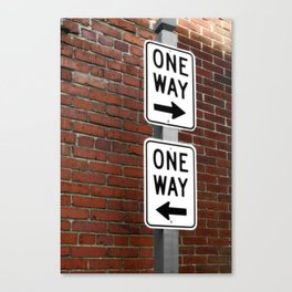 Street Sign One Way photography Canvas Print