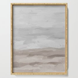 Gray Stormy Clouds Beige Sandy Beach Coastal Ocean Abstract Nature Painting Art Print Wall Decor  Serving Tray