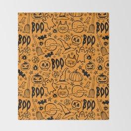 Spooky Pattern - Orange Throw Blanket