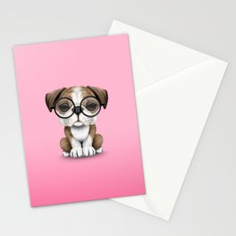 Cute English Bulldog Puppy Wearing Glasses on Pink Stationery Cards