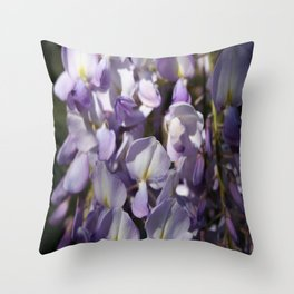 Close Up Of Lavender Wisteria Blossom Throw Pillow