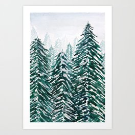 snowy pine forest in green Art Print