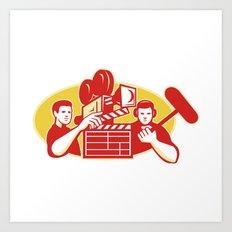 Film Director Movie Camera Clapper Soundman Art Print