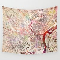 philadelphia Wall Tapestries featuring Philadelphia by MapMapMaps.Watercolors