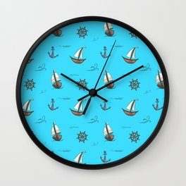Happy Sailing Pattern with blue background Wall Clock