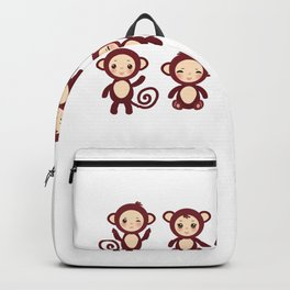 Set of funny brown monkey boys and girls on white background. Vector illustration Backpack