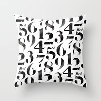 numbers Throw Pillows featuring Numbers by Sibling & Co.