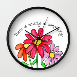 Simplistic Daisies in Reds Wall Clock
