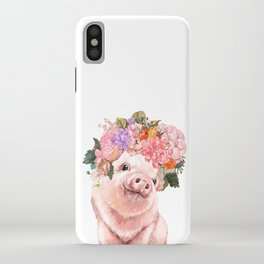 Lovely Baby Pig with Flowers Crown iPhone Case