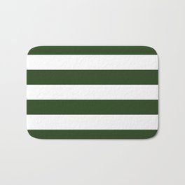 Large Dark Forest Green and White Cabana Tent Stripes Bath Mat