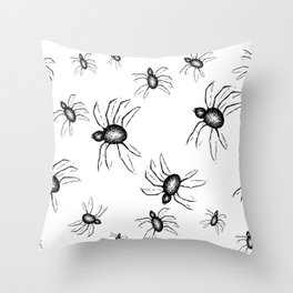 Spiders Everywhere Black and White Halloween Horror Throw Pillow