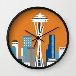 Seattle, Washington - Skyline Illustration by Loose Petals Wall Clock