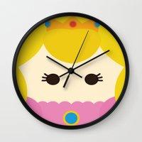 princess peach Wall Clocks featuring Princess Peach, Mario by heartfeltdesigns by Telahmarie