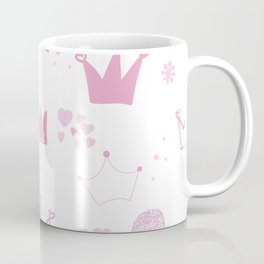 Pink hand drawn doodle crown with stars and hearts Coffee Mug